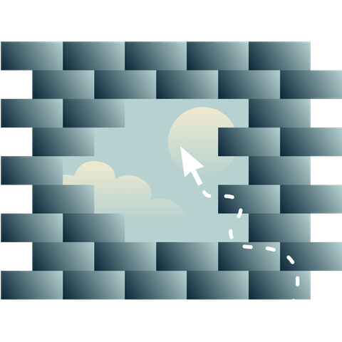 An opening in a brick wall that shows a sky with the sun and clouds, plus a cursor going towards the opening.